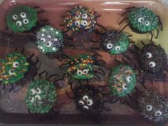 Gooey Spider Cupcakes  Cake mix with Nutella as frosting, and hidden in middle of each cupcake is a mini Snickers, Milky Way or Peanut butter cup. Perfect for your halloween party!