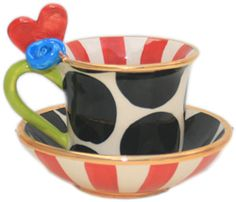 """Heart Demi Tasse & Saucer """"Cat in the Hat"""" by Mary Rose Young"""