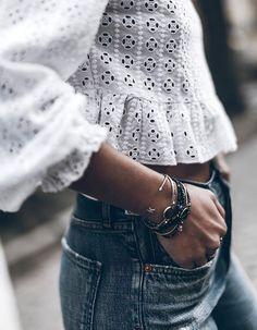 Denim + lace.