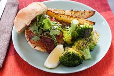 BBQ Tempeh Sandwiches with Roasted Potato Wedges & Broccoli. Visit http://www.blueapron.com/ to receive the ingredients.