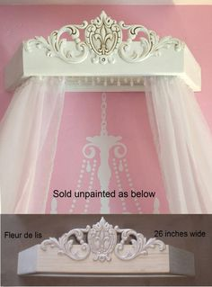 Wood bed canopy for DIY Unpainted wood bed crown Princess bed comes assembled & Corona Bed Crown | Girls room at Grandma u0026 Grandpau0027s | Pinterest ...
