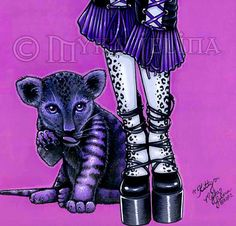 Kitty Purple Couture Gothic Victorian Cat Angel 8x10 by MykaJelina