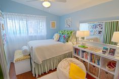 Like the trunk at the foot of the bed and the storage cubes used as nightstand too -- would fit perfectly by Helen's bed and under the window.