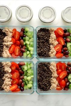 Meal Prep Lentil Greek Salad Lentils tomatoes cucumbers pepperoncini kalamatas and a big dollop of homemade fresh dill yogurt sauce YUM Lunch Recipes, Diet Recipes, Vegetarian Recipes, Cooking Recipes, Healthy Recipes, Easy Recipes, Salad Recipes, Ketogenic Recipes, Smoothie Recipes