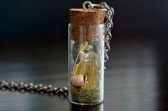 Citrine necklace terrarium necklace raw citrine by VeinsOfNature