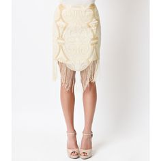 1920s Style Beige Deco Beaded Fringe Mini Flapper Skirt ($31) ❤ liked on Polyvore featuring skirts, mini skirts, white, white short skirt, white high waisted skirt, short skirts, chiffon skirts and fringe mini skirt