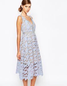 Image 1 ofSelf Portrait Off Shoulder Heavy Lace Midi Prom Dress