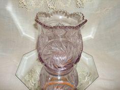 Purple AMETHYST DEPRESSION Glass Vase Lavender,