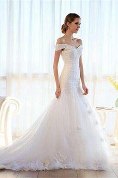 White Off The Shoulder Long Mermaid Lace Up Beading Wedding Dresses Z0163 642804abc608