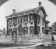 History ~ Abraham Lincoln's Springfield home draped in mourning (Abraham Lincoln Presidential Library)