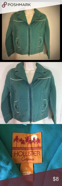 Green Hollister Jacket-L A unique green jacket from Hollister in size L. With a slight retro flair, it would be a great pairing with many different outfits! Like new! Hollister Jackets & Coats Jean Jackets