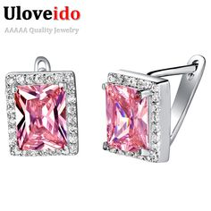 Find More Stud Earrings Information about Square Stud Earrings with Stones Big Pink Engagement Decorations Gifts for Women New Year Gifts Orecchini Donna Uloveido R721,High Quality square decorative plates,China decor Suppliers, Cheap square decorative from Uloveido Official Store on Aliexpress.com