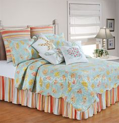 C And F Martin Blue Bedding - Best Sales and Prices Online! Home Decorating Company has C And F Martin Blue Bedding Tropical Bedding, Coastal Bedding, Coastal Bedrooms, Blue Bedding, Quilt Bedding, Coastal Decor, Modern Coastal, Coastal Cottage, Coastal Style