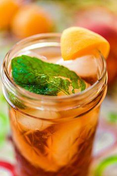 stone fruit and mint iced tea recipe #FireUpTheGrill ad