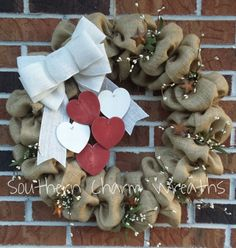 Natural Burlap Primitive  Valentines Day by southcharmwreaths