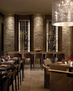 Like the wine racks for storage and the lighting effect.