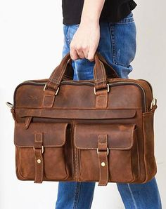 ac129c4de2fe Leather Mens Handbag Briefcase Shoulder Bag Messenger Bag Travel Bag  Business Bag for men Leather Office