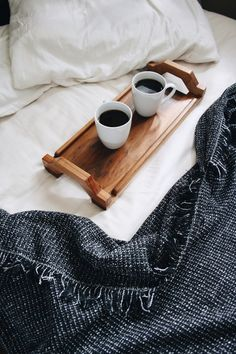 coffee in bed, wake me up, cups, blanket, serving tray, wood and a couple of cups
