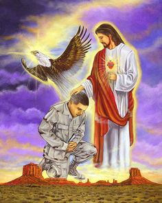 Painting of Jesus Praying for Soldier's Protection