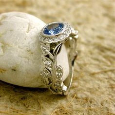 Square Cushion Cut Light Blue Sapphire Leaf and Vine Engagement Ring in 14K White Gold with Diamonds and Milgrain
