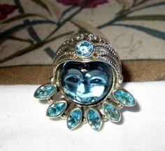RING  - FACE - Carved Blue Quartz  - Blue TOPAZ  - Ornate - 925 - Sterling Silver - size 7 1/2  blue195 by MOONCHILD111 on Etsy