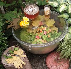 What a great idea! Fill an oversized barrel planter with plants and cover with glass. Instant terrarium table!