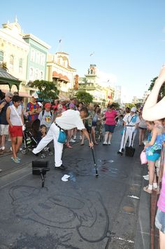 As a janitor at Disney World, I drew characters with water and a broom on the sidewalk to entertain guests.<-- This guy is awesome :)