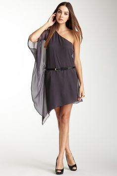 Tamra Silk Belted One-Shoulder Dress I have to have this!