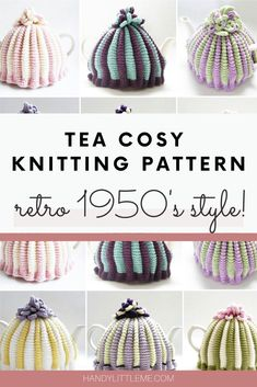 Make a pleated two colour tea cosy with this tea cosy knitting pattern. This retro style tea cosy can be made in any DK yarn. Crochet Tea Cosy Free Pattern, Tea Cosy Pattern, Knitting Patterns Free, Free Knitting, Knitting Ideas, Finger Knitting, Scarf Patterns, Knitting Machine, Knitted Tea Cosies
