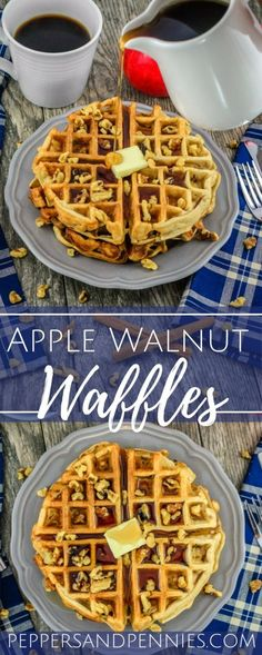 These Apple Walnut Waffles taste like giant apple walnut muffins straight from the oven. They are a tasty fall treat! Waffle Recipes, Brunch Recipes, Sweet Recipes, Budget Recipes, Easy Recipes, Healthy Breakfast Recipes, Breakfast Ideas, Healthy Breakfasts, Healthy Recipes