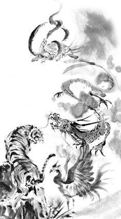 四神とは中国の神話に登場する天の四方を司る霊獣で、東の青龍(せいりゅう)・南の朱雀(すざく)・西の白虎(びゃっこ)・北の玄武(げんぶ)のことです。  その四神と京都には密接な関係があるのですが、その説明の前にまず五行思想について少しふれておきます。  五行思想とは古代中国から始まった自然哲学の思想で、万物は木・火・土・金・水の5つの要素から構成され、それらはお互いに影響を与え合っているという考え方。昔あった映画の「フィフス・エレメント」なんかもこの思想にインスパイアされたんでしょうね。  いずれにせよこの5つの要素が互いに影響し合い、生まれ滅びそして栄え衰退して天地万物が変化、循環するという考え方のようです。 Ancient Symbols, Ancient Art, Animal Sketches, Art Sketches, Dragon Oriental, Yi King, Yin Yang Art, Tiger Tattoo Design, Landscape Tattoo