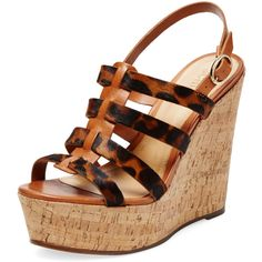 Schutz Schutz Women's Leather & Pony Hair Wedge Sandal - Brown - Size... ($129) ❤ liked on Polyvore featuring shoes, sandals, brown, ankle wrap sandals, wedges shoes, platform sandals, leather platform sandals и ankle strap wedge sandals