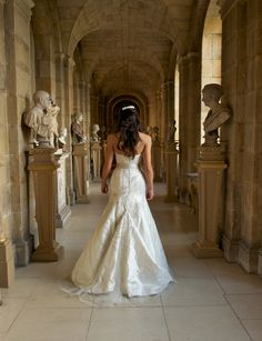 Phillipa Lepley Wedding Dress - Tara wore a silk wedding dress with bespoke embroidered tulle overlay, integral corset and platinum coloured sash at waist. #weddingdress #wedding #bespoke #designerweddingdress #bridalgown #luxury #couture #british #britishweddingdressdesigner #londonbride #coutureweddingdress #englishweddingdressdesigner #silk #lace #embroidery #veil