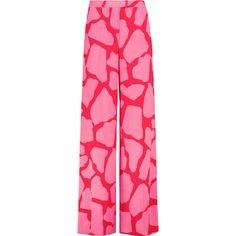 MSGM Printed crepe wide-leg pants ($305) ❤ liked on Polyvore featuring pants, fuchsia, crepe wide leg trousers, msgm pants, pink trousers, petite wide leg pants and mid rise pants