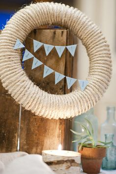 Rope Wreath With Bunting   Tutorial