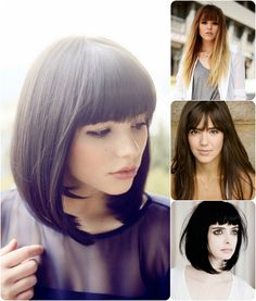 blunt cut hairstyle with human hair extensions