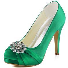 ElegantPark EP2015-PF Women Pumps Closed Toe Platform High Heel Buckle Satin Evening Wedding Court Shoes Green UK 8