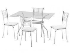 Conjunto de Mesa Aço Cromado 4 Cadeiras - Design Final Roma e Itália