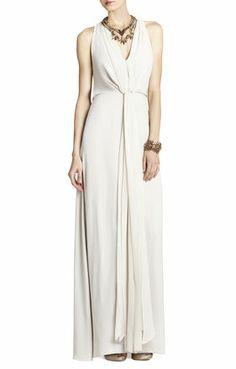 Mara Long-Length Halter Dress. Non traditional simple wedding dress. Comfortable. Perfect for summer wedding. Keyhole draped back.