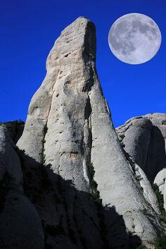 Full moon and Montserrat Cavall Bernat in Catalonia, Spain