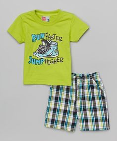 Take a look at this Green 'Run Faster, Jump Higher' Tee & Plaid Shorts on zulily today!