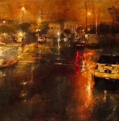 Red Mission Night by Jeremy Mann.  Oil on Panel, 25 x 25 inches, 2011
