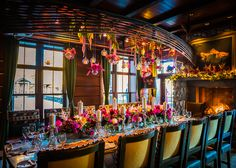 A wedding dinner at the Lake Placid Lodge