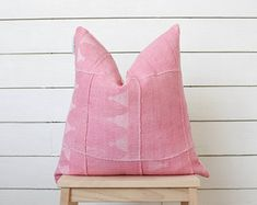 Modern Farmhouse Pink African Mudcloth Pillow