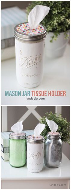 "DIY MASON JAR TISSUE HOLDERS - Make the CUTEST ""Tissue Boxes"" out of MASON JARS! These make fantastic gifts!"