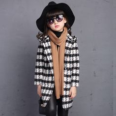New Autumn Winter Teenage Girls Outwear Plaid Woolen Jacket Coat For Girls