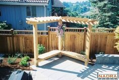 bench and a small pergola