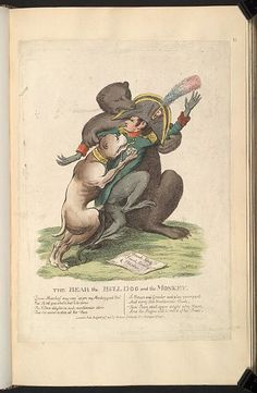 24 August 1812:Bodleian Libraries, The bear the bull dog and the monkey.Satire on the Napoleonic wars. (British political cartoon)