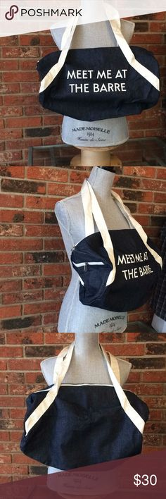 """Brand New Dance Bag Brand new graphic """"MEET ME AT THE BARRE"""" dance duffle bag. Cellophane still on the handles! Perfect for ballet class:) Bags Backpacks"""