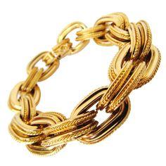 Gold Bracelet For Women, Gold Link Bracelet, Link Bracelets, Bangle Bracelets, Statement Bracelets, Bangles, Gold Jewelry, Jewelery, Vintage Jewelry